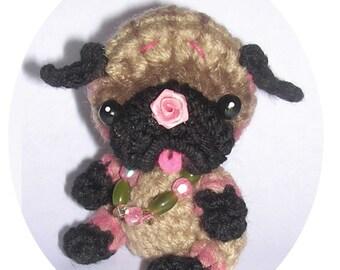 Pug Dog Clip On Keychain Ornament or  POTHOLDER Digital Crochet pdf Patterns