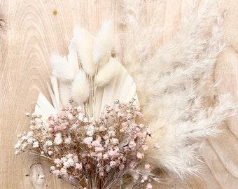 BLUSH - Mini Dried Palm Pampas Bouquet Wedding/ Bridesmaid/ Bride - Boho Home Decor - Cake Topper