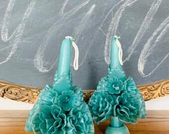 """5"""" set of 2 - green -  Artesenal Candles - Mexican Floral -  Boho - Home Decor"""