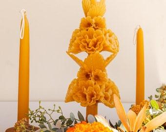 Artesenal Taper Candles - Mexican Floral -  Boho Mustard Yellow - Home Decor