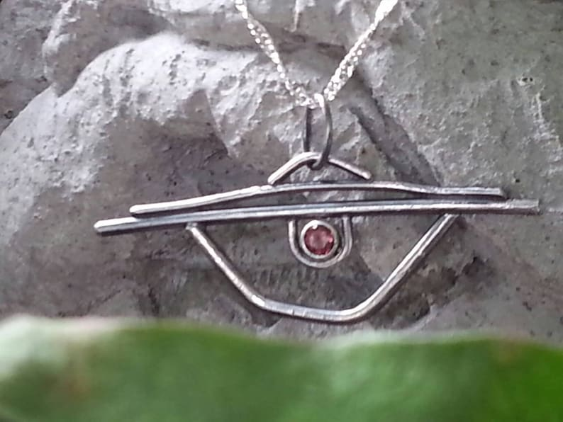 Pink Tourmaline and Sterling Silver Art Deco inspired evil eye