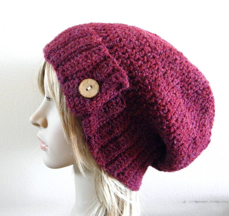 fd299545159 Burgundy maroon dark red plum crochet button tab hat slouchy