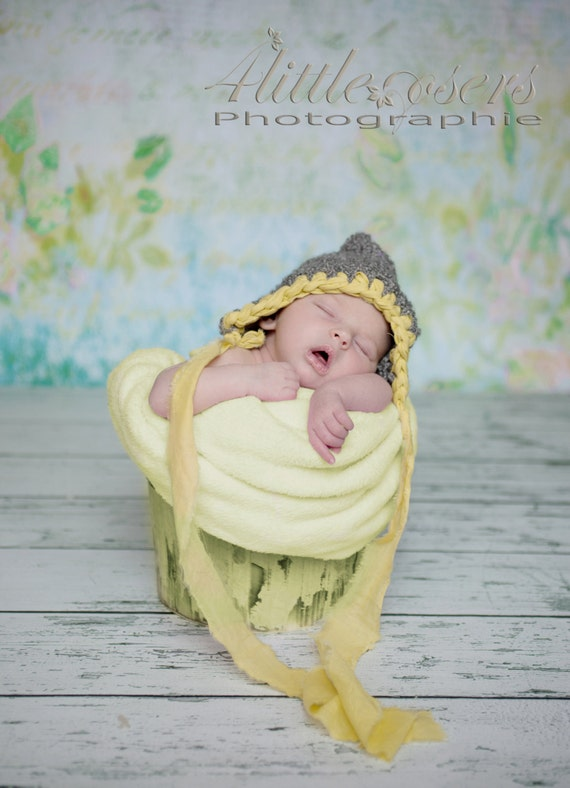 b7a6dd845434 Pixie bonnet hand knit baby girl hat grey gray yellow fabric ribbon trim  ties unique newborn photography photo prop RTS