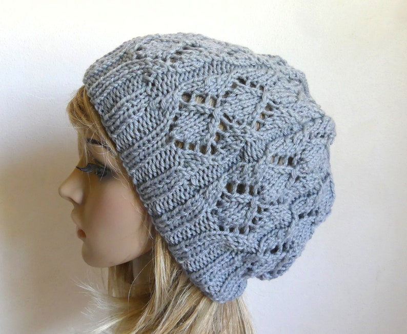 a3994bf91d9 Lacy beret slouchy hat in medium grey superfine soft