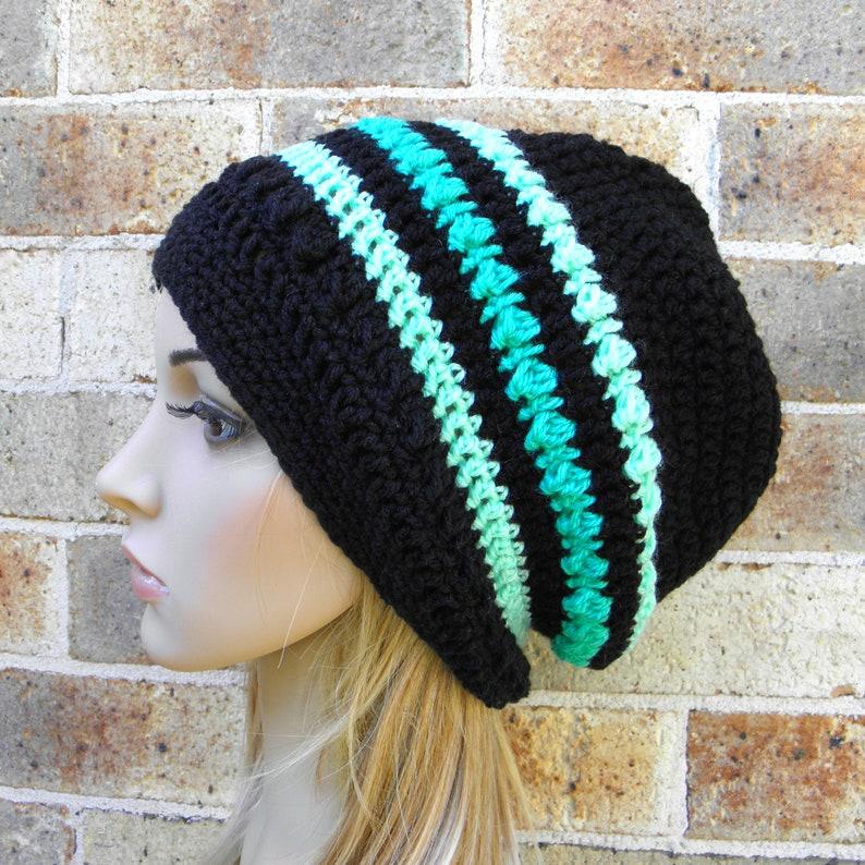 6627485622d61 Crochet women slouchy hat black light mint green woman s