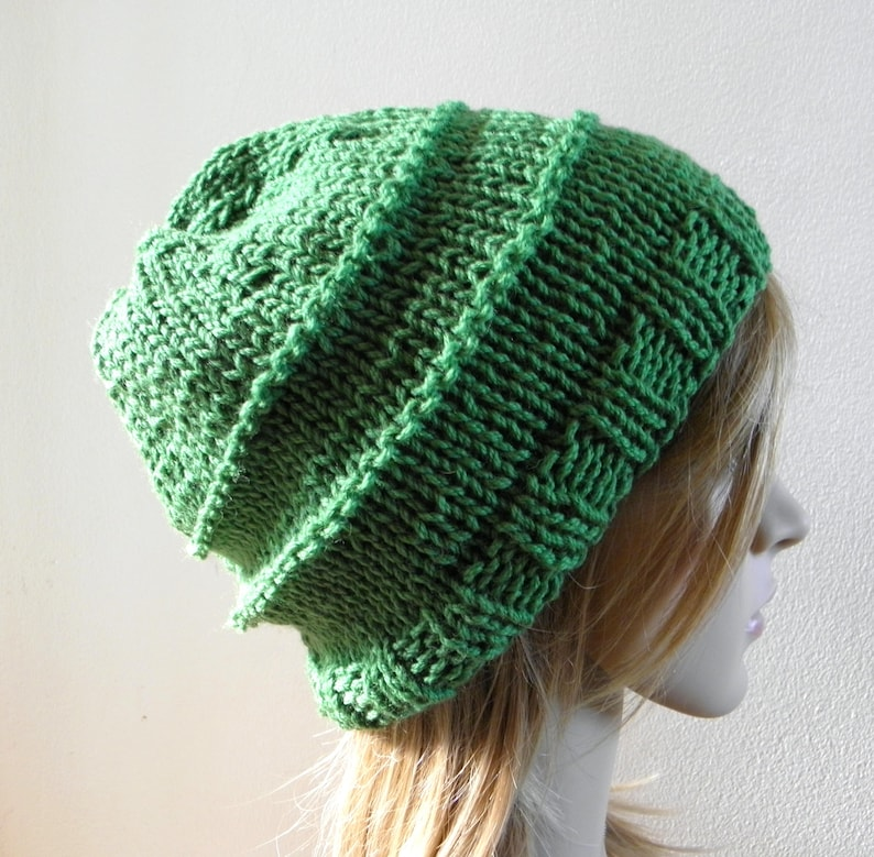 f0f16a7246d Hand knit chunky slouchy hat wide band in emerald grass leaf