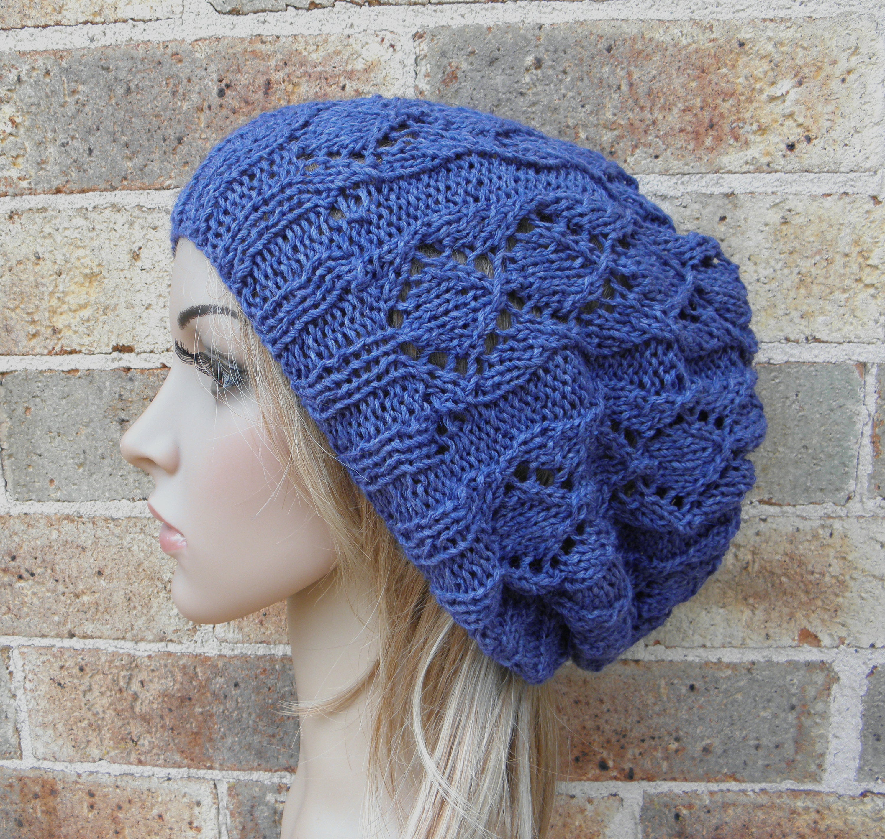 54270b202 Hand knit slouchy hat blue silk angora slouchy beanie in blueberry lacy  beret knitted softest warm winter fall slouch teen women READY MADE
