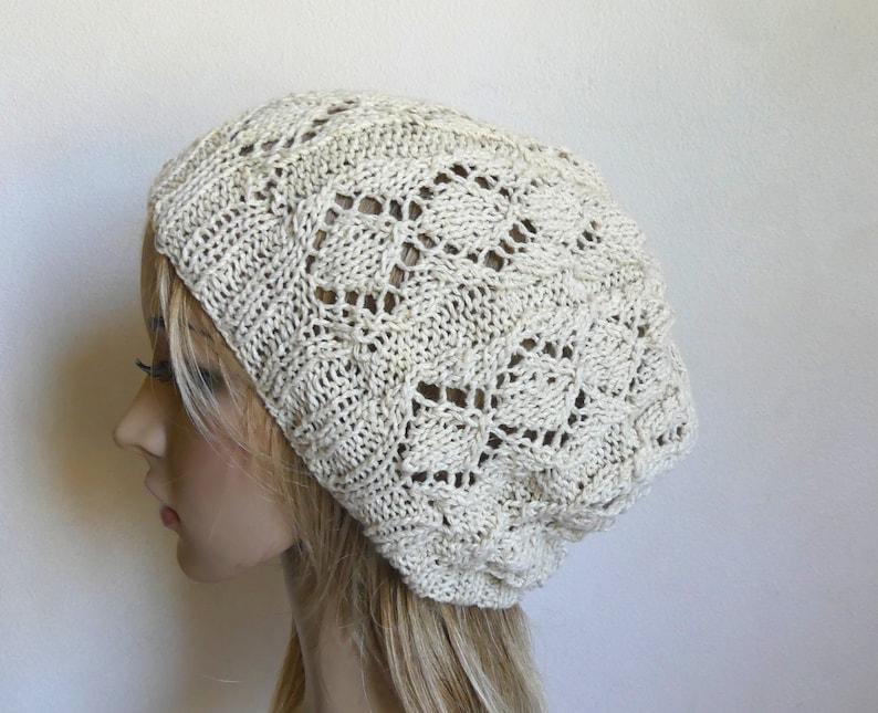 c1476d782aa Hand knit slouchy hat in white silk angora cream beanie lacy