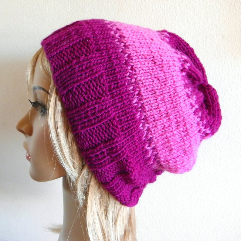 afcb4a130a3 Slouchy hat magenta bright pink aubergine berry fig purple