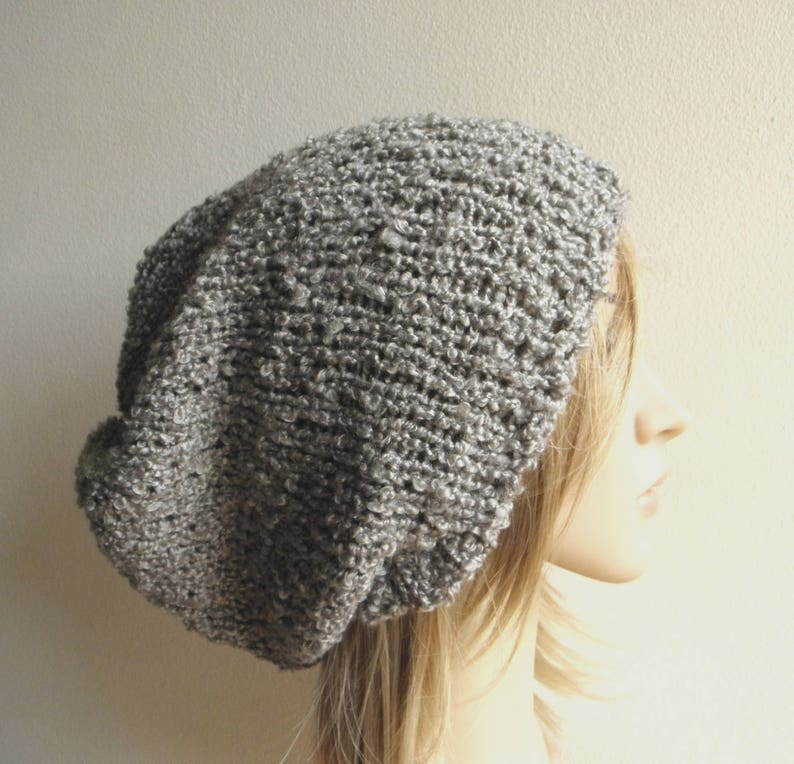 bbe46417960 Oversized slouchy hat soft textured steel grey gray knit