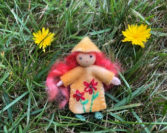 Autumn The Little Flower Pixie Bendy Doll Waldorf Toy dollhouse fae pretend play