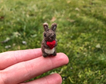 Needle Felted Brown Bunny Rabbit With Heart Miniature Tiny Figurine Anniversary Gift