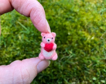 Miniature Needle Felted Pink Bear With Heart Valenties Day Tiny Figure