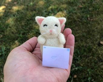 Kawaii Miniature Messenger Cat Mail Kitty Custom Message Needle Felted Figure