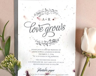 """25 Seeds of Love Wedding Invitations - Your Color Choice - Flower Petals - Seed Paper - Love Grows - Wedding Stationery - 5 x 7"""""""