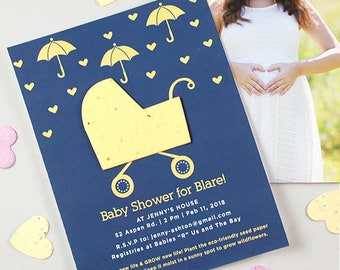 """25 Plantable Carriage Baby Shower Invitations - Your Color Choice - Seed Paper - Plantable - Eco Friendly - 4.25 x 5.5"""" - Includes Envelopes"""
