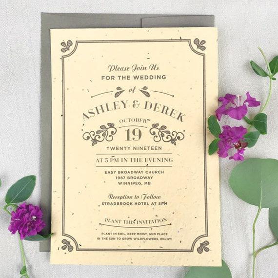 25 Vintage Seed Paper Wedding Invitations Vintage Wedding Etsy