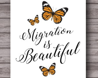 Migration is Beautiful, immigration, monarch butterfly, mexican protest art, Chicano, latino, instant download print, poster