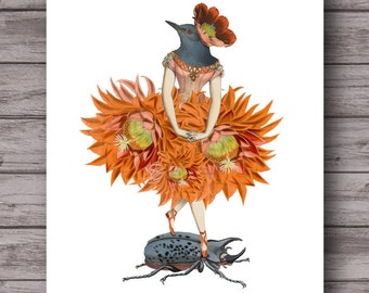 Bird Dancer 5 . printable poster collage orange botanical bird . instant download unique wall art . tropical decor . gallery wall