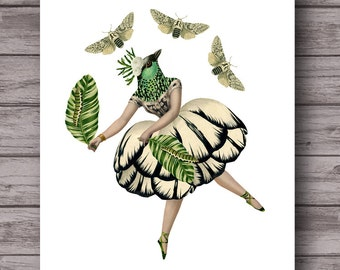 Bird Dancer instant download art print, whimsical art, ballerina dance art, new baby room, unique natural art print poster, collage, tulips