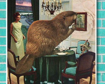 Roomscape Beaver surreal animal collage art, instant download unique wall art, home decor, retro 7 x 7 square, vintage interior kitsch print