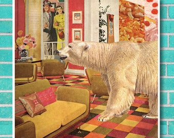 Roomscape polar bear surreal animal collage instant download unique wall art, home decor, retro mid century, vintage interior kitsch print