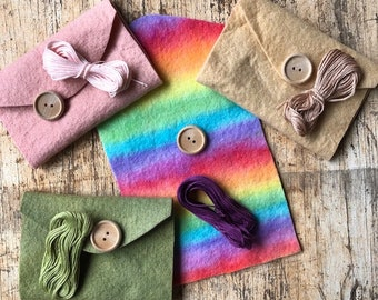 Felt Selection British Supply UK Seller 48 pieces of Hand Dyed Wool and Viscose Felt coloured across the spectrum Felt Tower