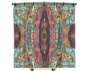 Artsy Shower curtain, BOHO Shower Curtain, Shower curtain, Burgundy shower curtain, Boho curtain, Fabric shower curtain, Boho Decor, artsy