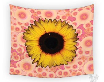 Sunflower Tapestry, tapestry, Tapestry wall hanging, Wall Tapestries, Dorm tapestry, Pink tapestry, Wall Tapestry, BOHO Tapestries, Wall Art