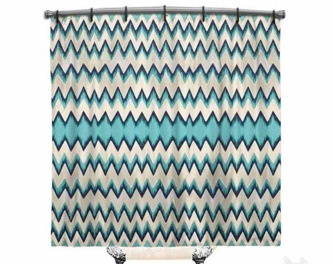 Blue Chevron, Shower Curtain, Shower curtain, chevron shower curtain, Chevron curtain, Funky, Fabric shower curtain, Bath Decor, Home Decor