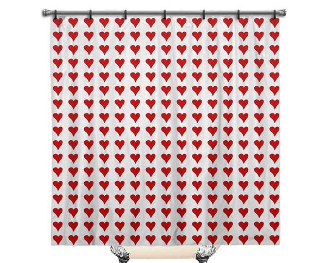 Shower curtain, Red Hearts shower curtain, Heart shower curtain, shower curtain art, Fabric Shower Curtain, Bathroom Decor, bathroom art