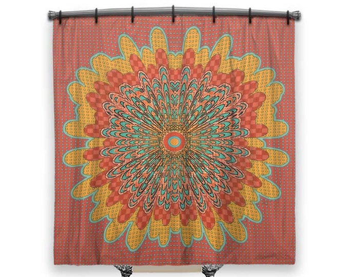 Shower curtain, BOHO Shower Curtain, Fabric shower curtain, shower curtain art, Red shower curtain, country Decor, Boho chic, Cottage decor