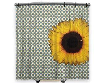 Big Sunflower, Shower Curtain, Shower curtain, Blue shower curtain, Fabric shower curtain, Checkered shower curtain, Bath, Boho chic Decor