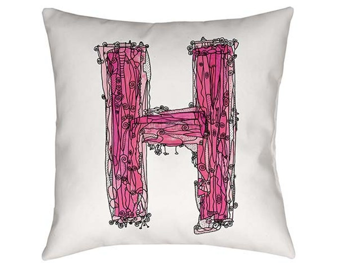 Letter H Pillow, Pink Letter H Pillow, initial H pillow, monogram H pillow, Alphabet Art, nursery decor, Artsy Pillow, Whimsical Art Pillow