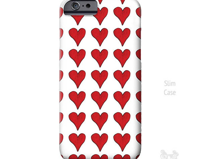 Red Hearts, iPhone 7 Case, hearts iPhone case, iPhone 7 plus case, iphone 8 case, Art, iPhone Xs case, iPhone X Case, iPhone 8 Plus case
