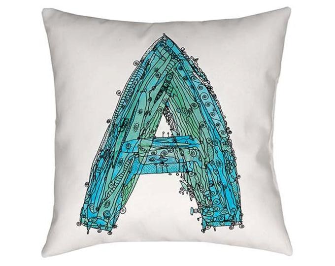 Pillow, Whimsical Pillow, Letter A Pillow, throw pillow, monogram pillow, funky art, Alphabet Pillow, throw pillows, pillows, Letter A Print