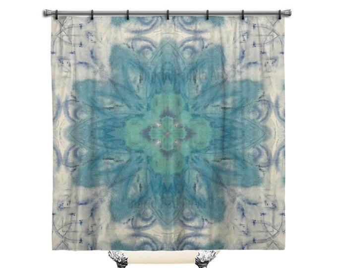 Bohemian Shower Curtain, BOHO BLUE Shower Curtain, Blue Shower curtain, shower curtain, shower curtains, Fabric shower curtain, Shabby chic