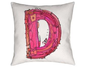 Whimsical, Letter D Pillow, Decorative Pillows, monogram pillow, Letter D Decor, Pillows, Illustration, funky, typography Art, Alphabet Art