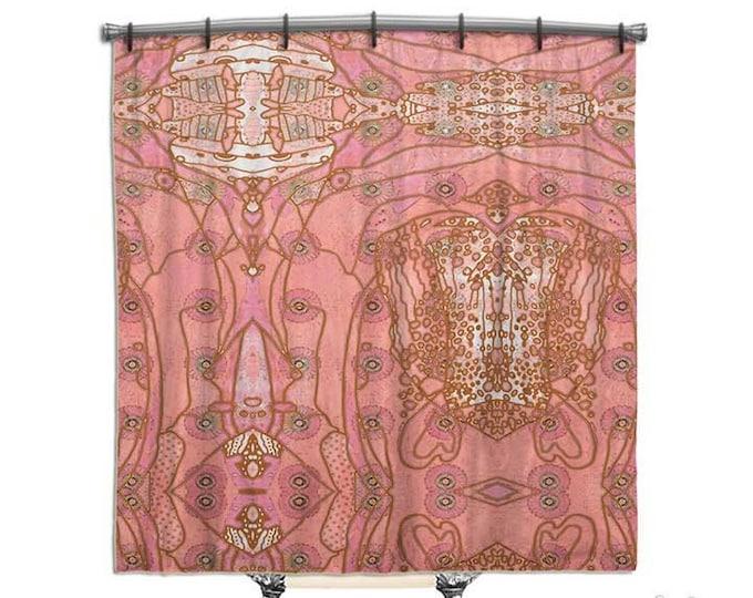 Pink, Bohemian Shower Curtain, BOHO Chic style, Hippie Chic, Shower curtain, Fabric shower curtain, Bath Decor, Home Decor, shabby decor