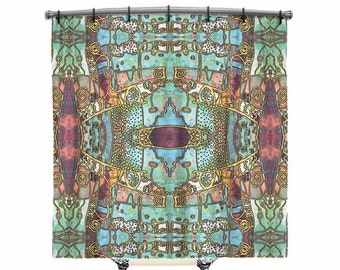 BOHO Shower Curtain, Bohemian, Blue, Shower curtain, shower curtain art, Boho Chic shower curtain, Fabric shower curtain, Bath Decor, Decor