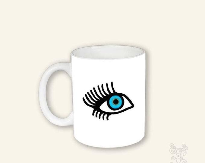 EyeLash mug, Coffee Mug with eye, Mug, Mug with eye, Pretty eye Mug, Face Mug, Blue Eye mug, Coffee Cup, eyelash coffee cup, eyelash mug
