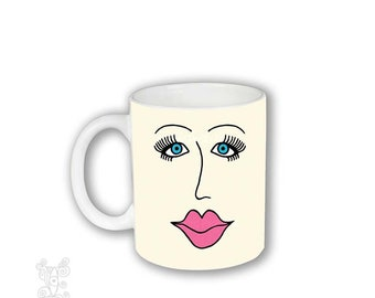 Lips and Lashes mug, Coffee Mug with Face, Mug, Mug with face, Pretty Girl Mug, Face Mug, Eyes and lips mug, Coffee Cup eyelashes and lips