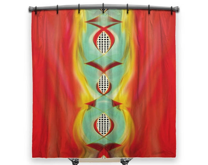 Abstract shower curtain, shower curtain, Red Shower curtain, Fabric Shower Curtain, Bathroom Decor, Decor, Shower curtain Art, abstract art