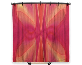 Red Shower Curtain Fabric Abstract Bathroom Decor Art