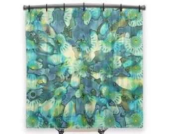Floral, Shower curtain, Blue shower curtain, BOHO Chic Decor, shower curtains, Fabric Shower Curtain, Bathroom Decor, Boho Decor, Funky Art