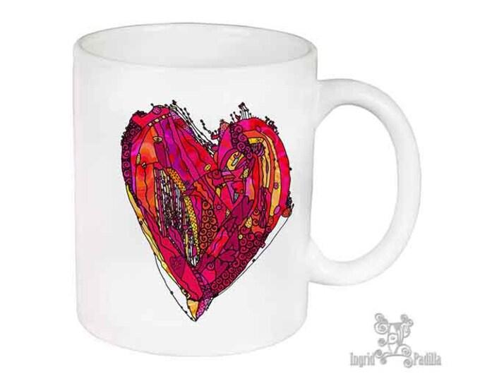 Heart Mug, Unique Mug, Coffee Mug, Funky, mug, coffee cup, Abstract, Art, Ingrid Padilla