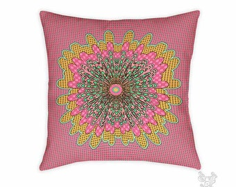 Polly pillow, Pillow, Decorative pillows, pink pillow, throw pillows, accent pillow, throw pillow, boho pillows, whimsical, mandala pillow