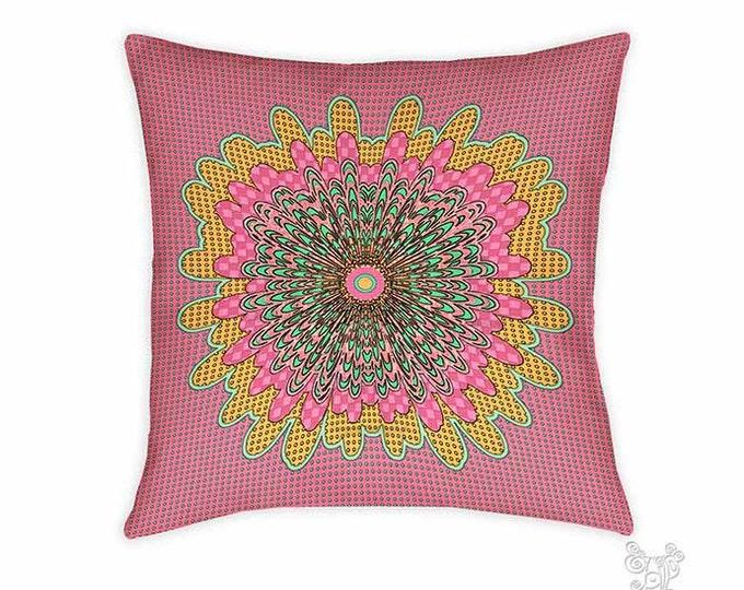 Polly pillow, Pillow, Decorative pillows, pink pillow, throw pillows, accent pillow, throw pillow, boho pillows, whimsical, mandala pillow