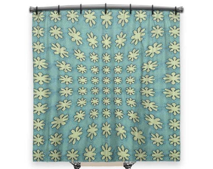 Shower Curtain, Blue Shower Curtain, BOHO Shower curtain, turquoise, Bohemian Shower curtain, hippie decor, Bath Decor, shower curtain Art
