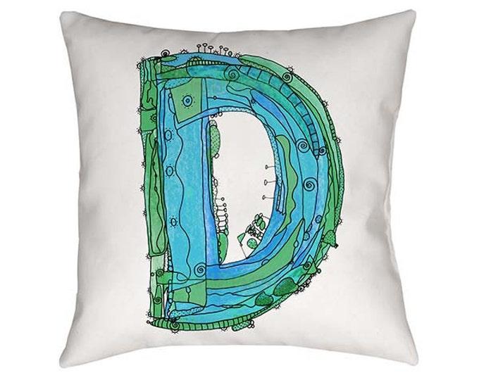 Whimsical Pillow, Pillow, Letter D Pillow, Accent Pillow, Decorative Pillow, pillows personalized, typography, Alphabet Pillow, funky pillow
